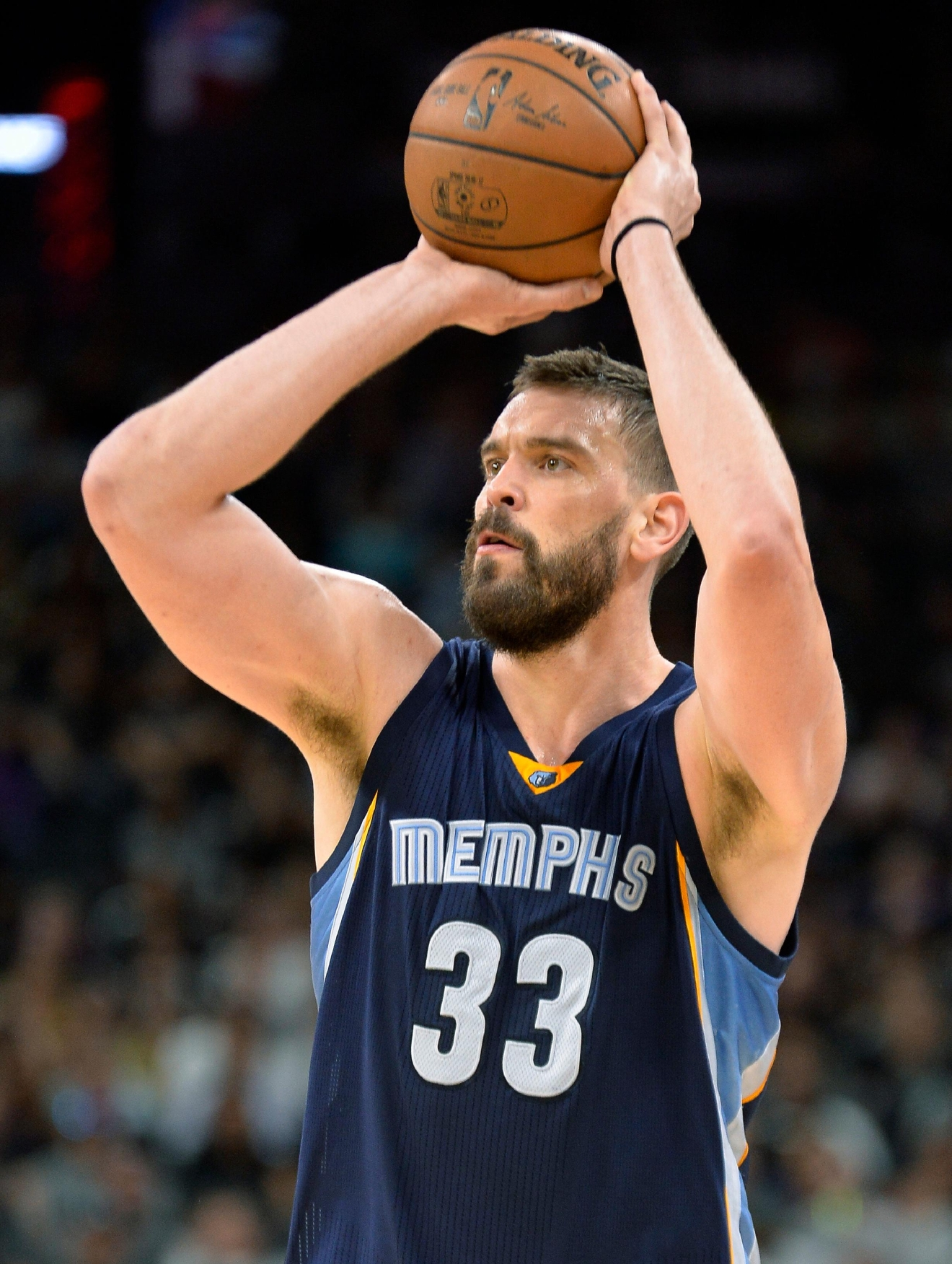 Memphis Grizzlies center Marc Gasol, of Spain, shoots during the first half of the team's NBA basketball game against the San Antonio Spurs, Thursday, March 23, 2017, in San Antonio. (AP Photo/Darren Abate)