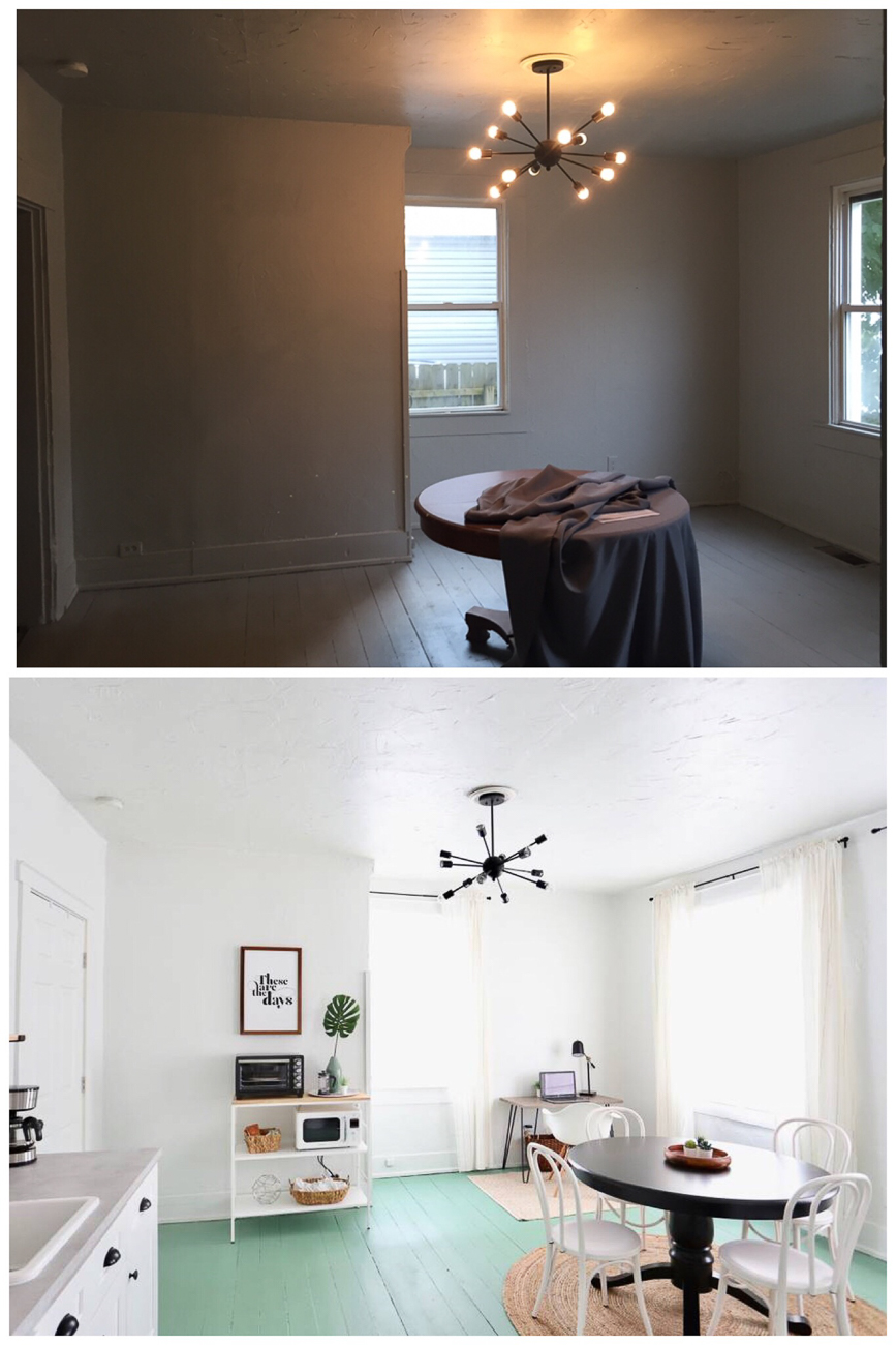 Before/after of the kitchen / Image courtesy of Nicole Nichols // Published: 1.8.19