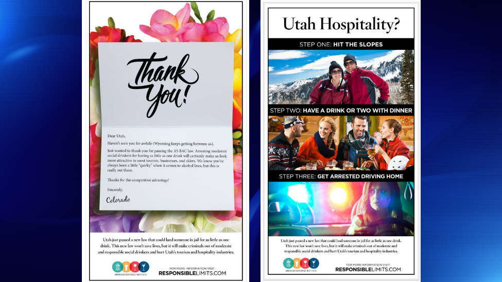 Utah mocked by American Beverage Institute for attempt to lower legal limit to .05