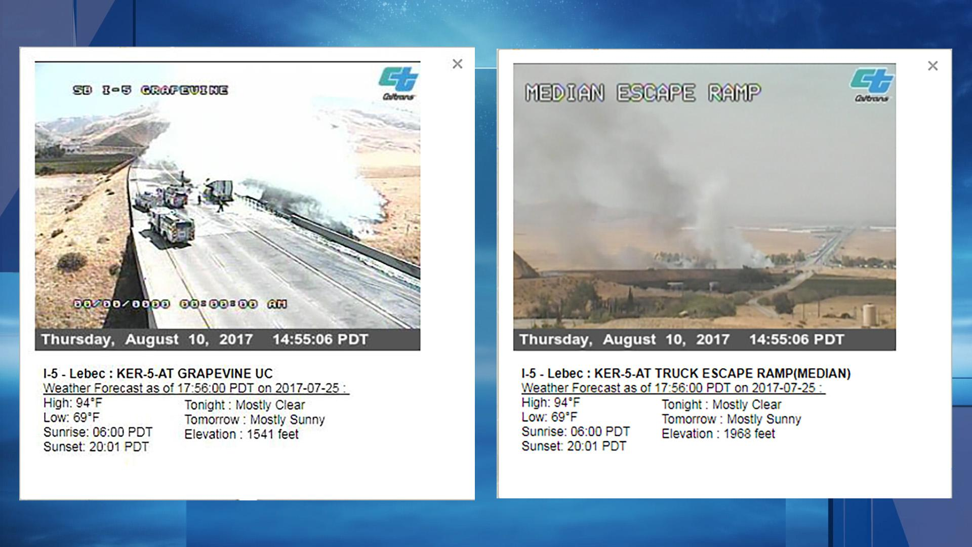 Images taken from Caltrans web cameras show the aftermath of what the California Highway Patrol reports is a crash on southbound Interstate 5 at Grapevine Road, south of Bakersfield, Calif.
