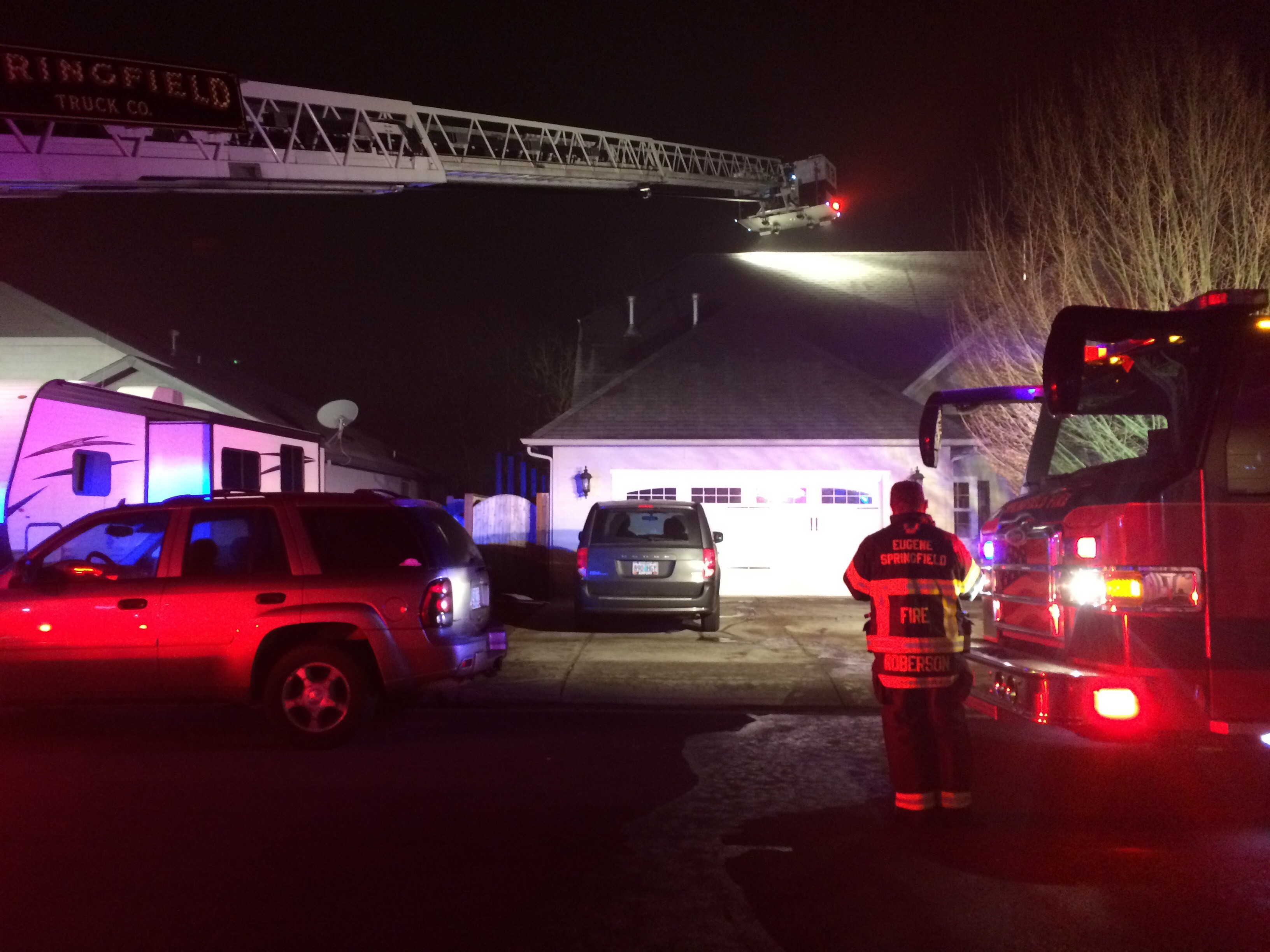 Fire crews on scene at a house fire on Clear Vue Lane in Springfield, Dec. 13, 2017. (SBG)
