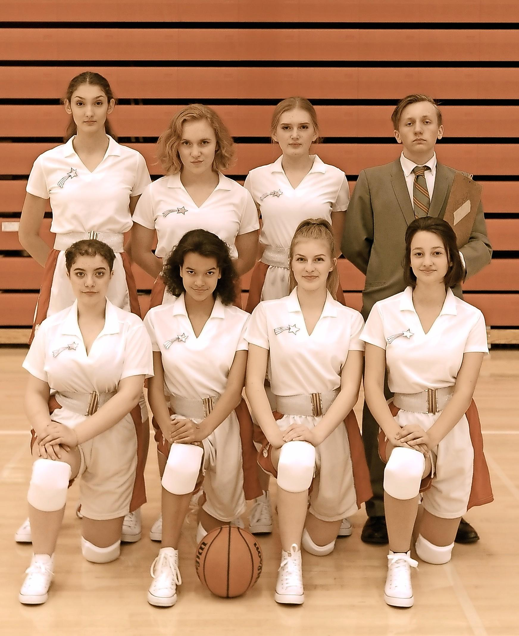 "The cast of ""Shooting Stars,"" top left to right: Anabella Ross, Allie Poole, Carmen Kerr, Nicky Clary; bottom left to right: Kylah Ward, Brooklyn Williams, Samara French and Elena Schmeling."