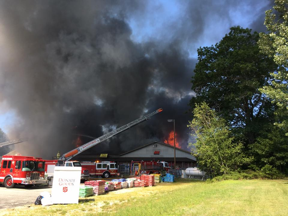 A fire in Waterboro sent a column of smoke into the sky Sunday morning. (John Pothier)