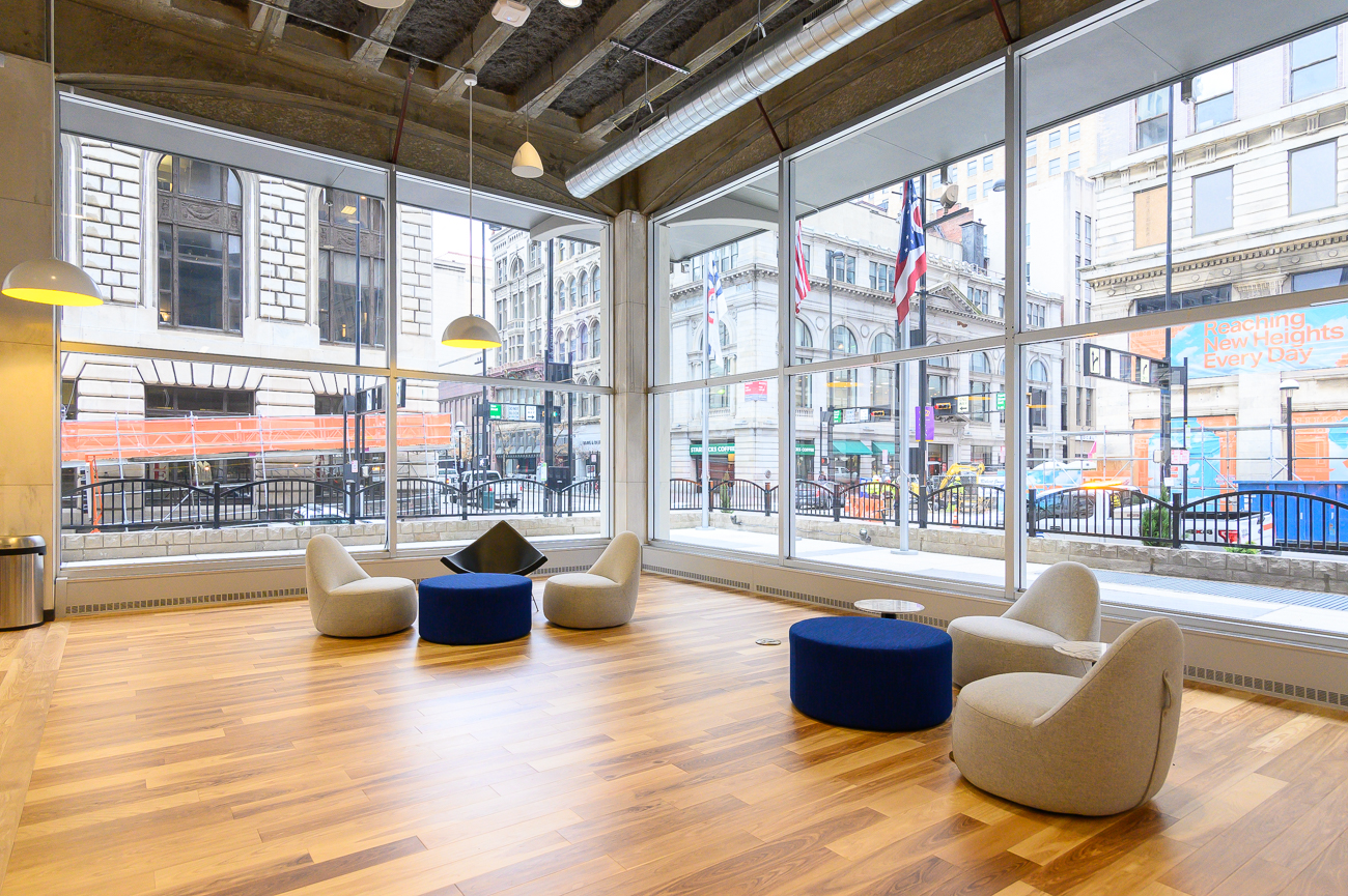 The view from the corner window looks out onto the coworking space's namesake. / Image: Phil Armstrong, Cincinnati Refined // Published: 2.25.20