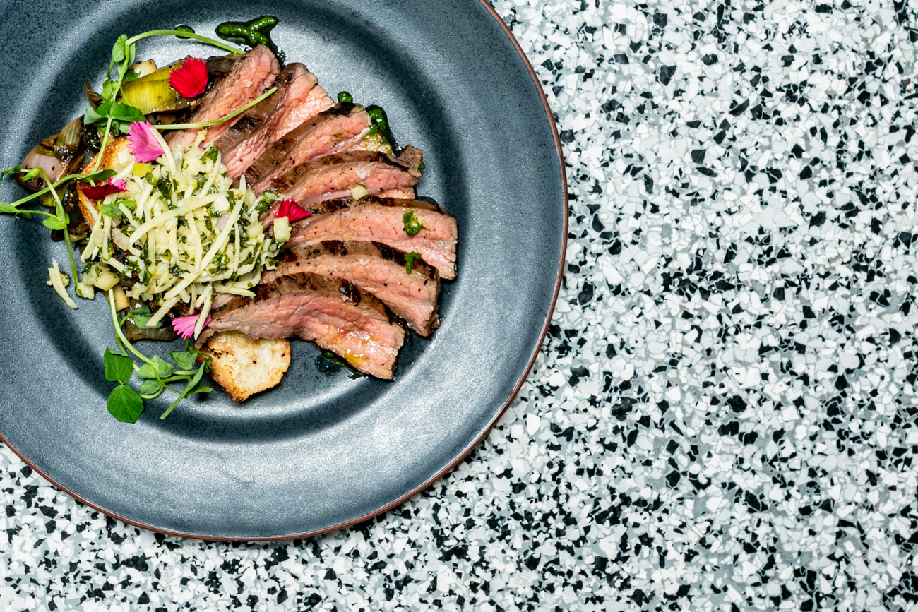 Flank steak: charred onion salad and grilled baguette with horseradish relish / Image: Amy Elisabeth Spasoff // Published: 1.28.19