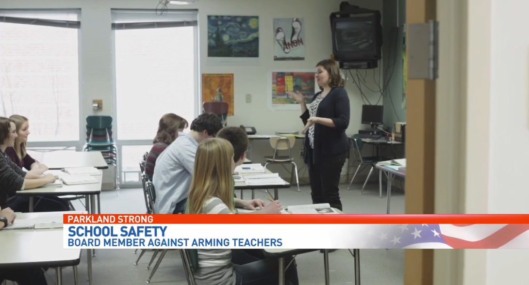School Board member opposes arming teachers. (WPEC){ }