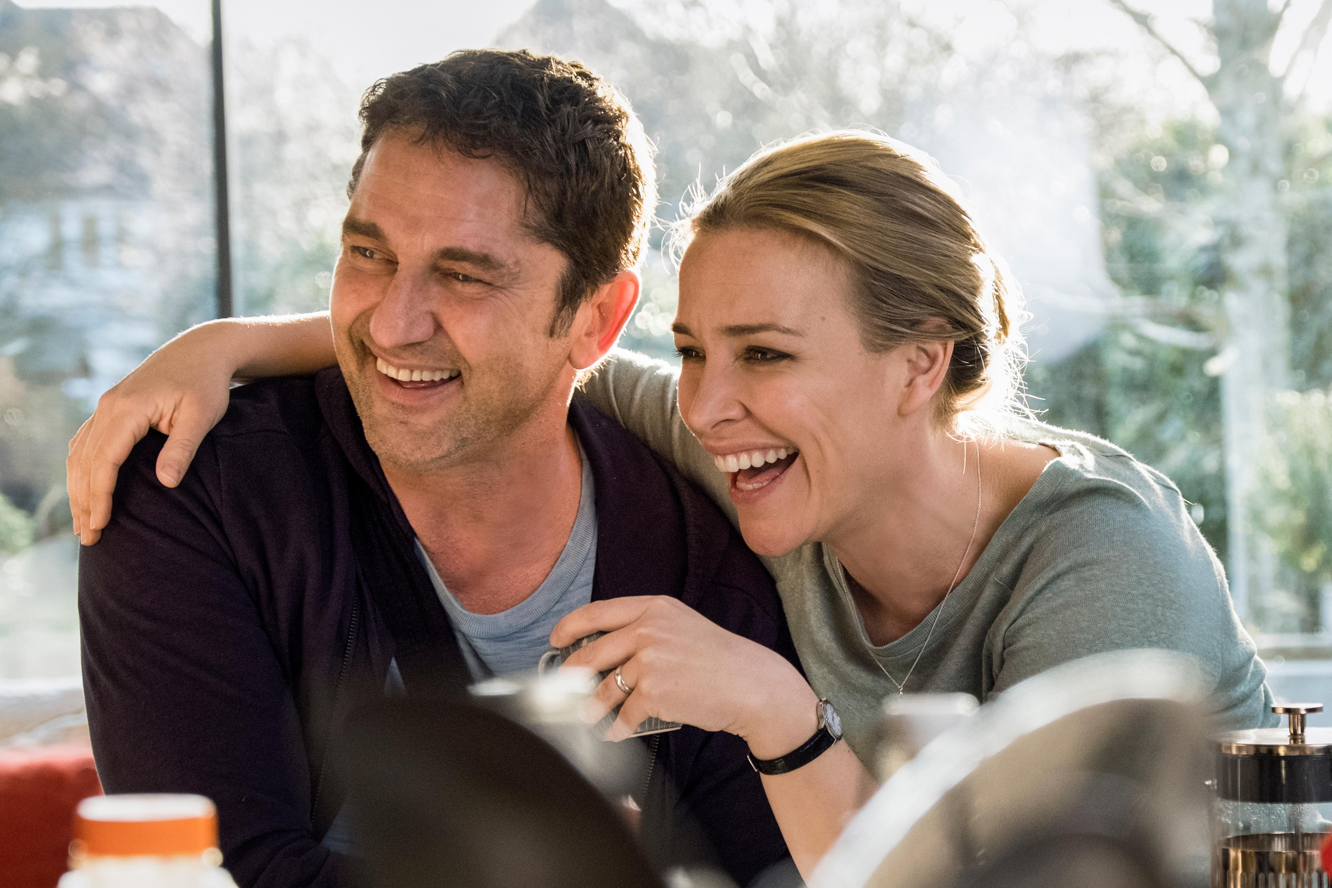 Gerard Butler 'Mike Banning' and Piper Parabo as 'Leah Banning' in ANGEL HAS FALLEN.{ }(Image: Lionsgate)