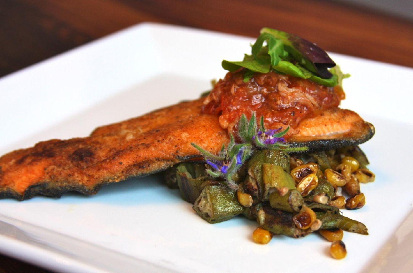 Rainbow Trout Filet: roasted corn, okra, and tomato bacon jam / Image: Molly Paz