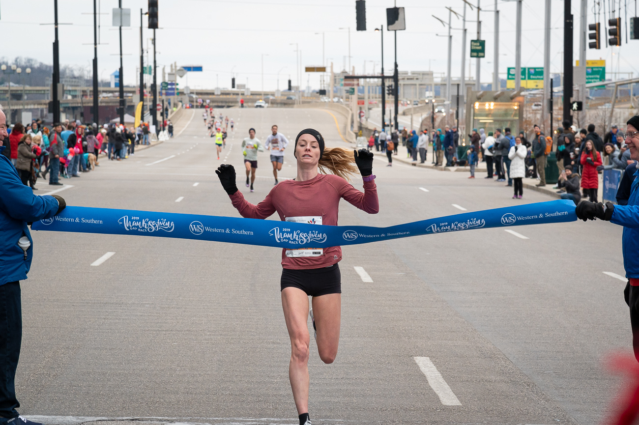 Tori Gerlach took first place for women with a time of 35:15./ Image: Phil Armstrong, Cincinnati Refined // Published: 11.28.19