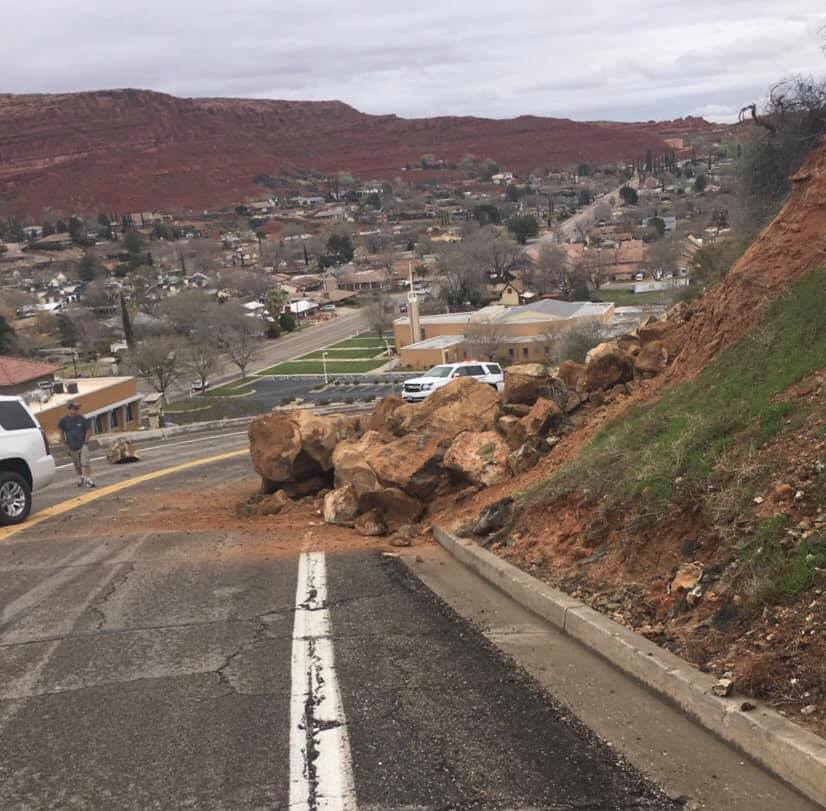 Rockslide closes road in St. George. (Photo: St. George Police Department)