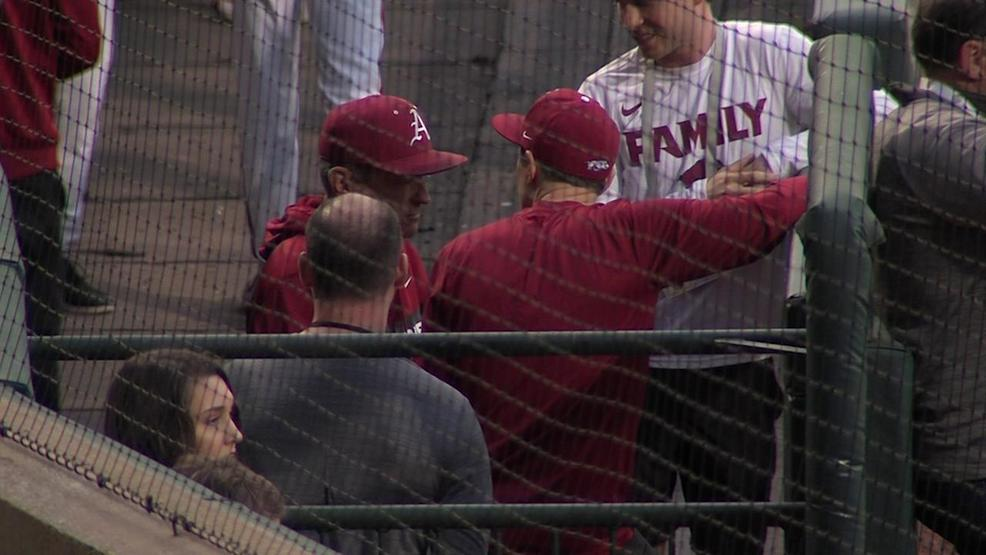 Web Extra: Eric Musselman throws first pitch at Razorback