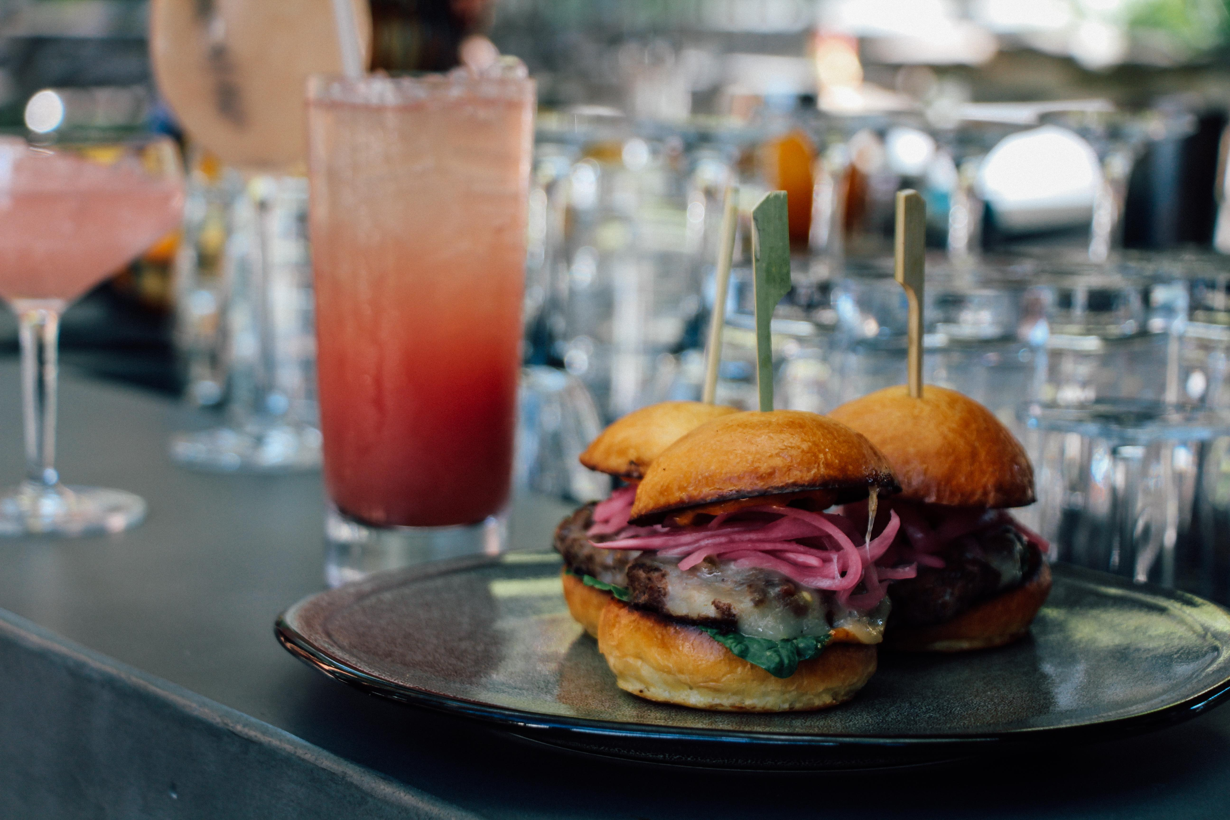 Ritz-Carlton, Georgetown Beef Slider Trio, $16 (Pickled Onion, Pepper Jack Cheese, Mayo) (Photo Credit: Ritz-Carlton, Georgetown)