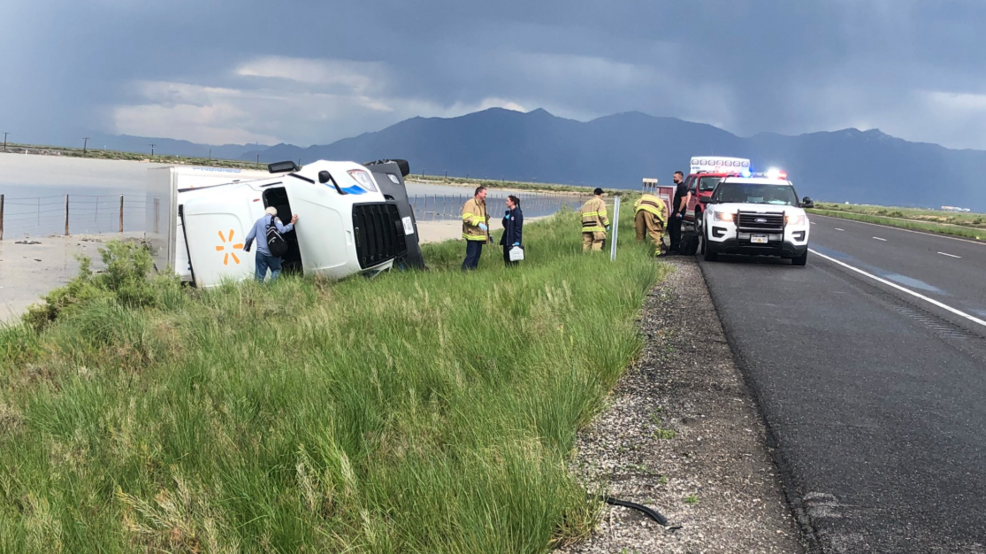 High wind warning: Winds flip semi on I-80; drivers advised to use caution