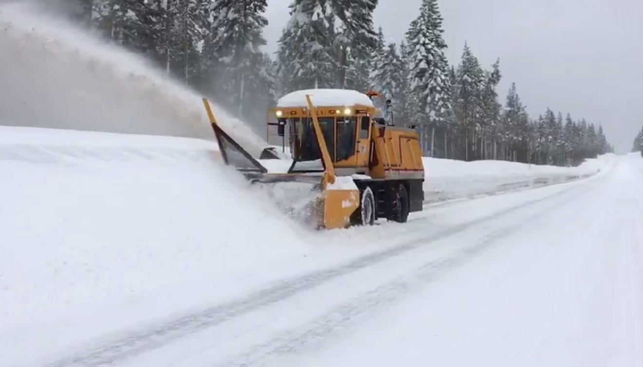 OR 62 leading into Crater Lake closes, March 6, 2017. (Still image courtesy Oregon Department of Transportation Twitter video)