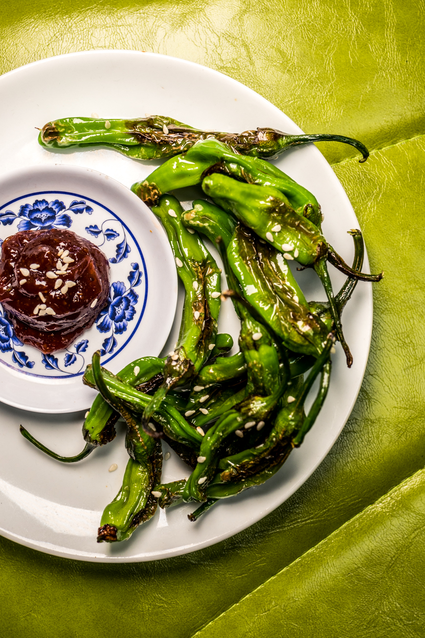 Shishitos: pan-blistered peppers in sesame oil / Image: Catherine Viox{ }// Published: 8.2.20