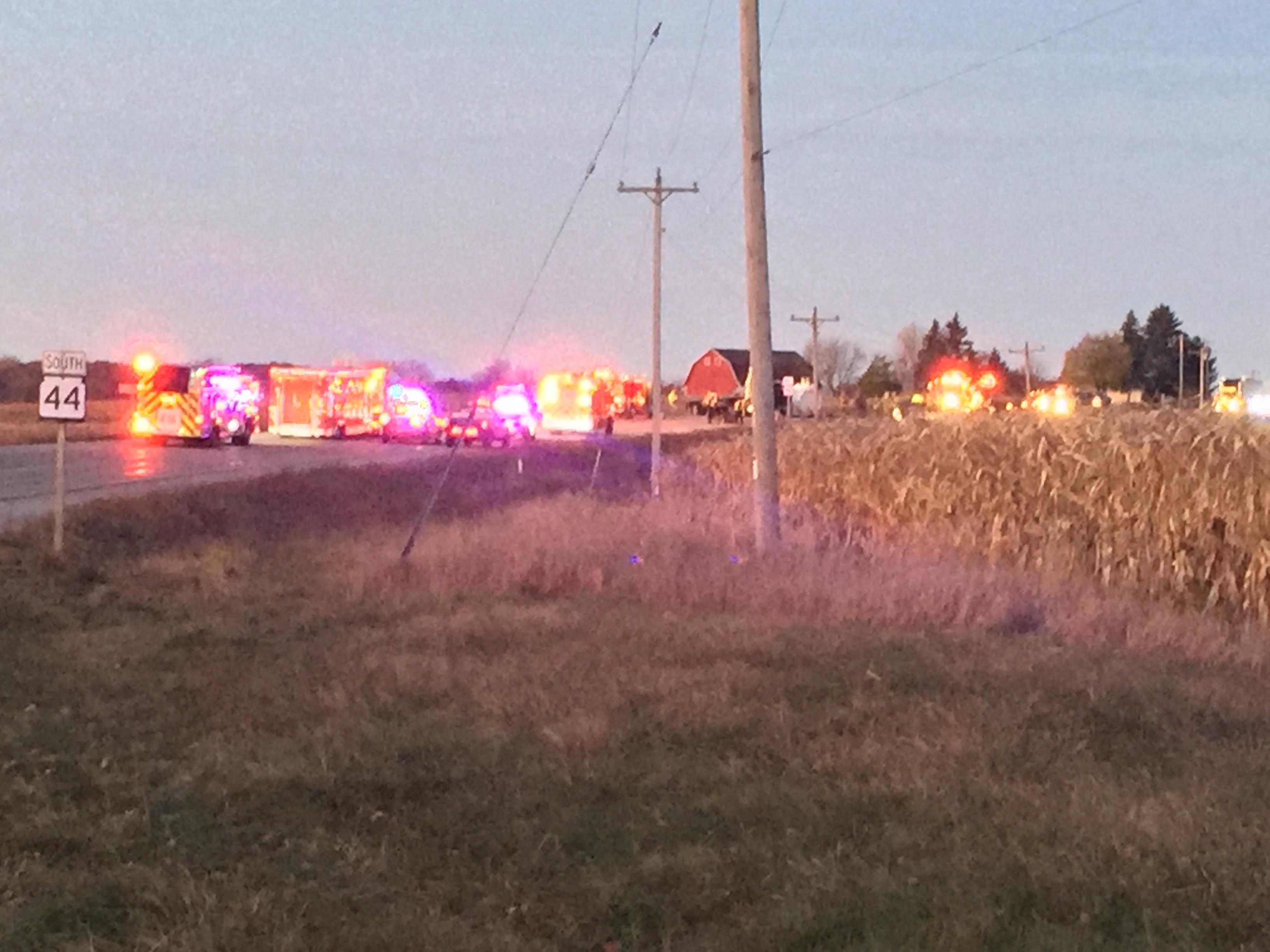 First responders at a traffic crash on Highway 44 near FF in Winnebago County on Friday,  November 10, 2017. (WLUK/Mike Moon)<p></p>