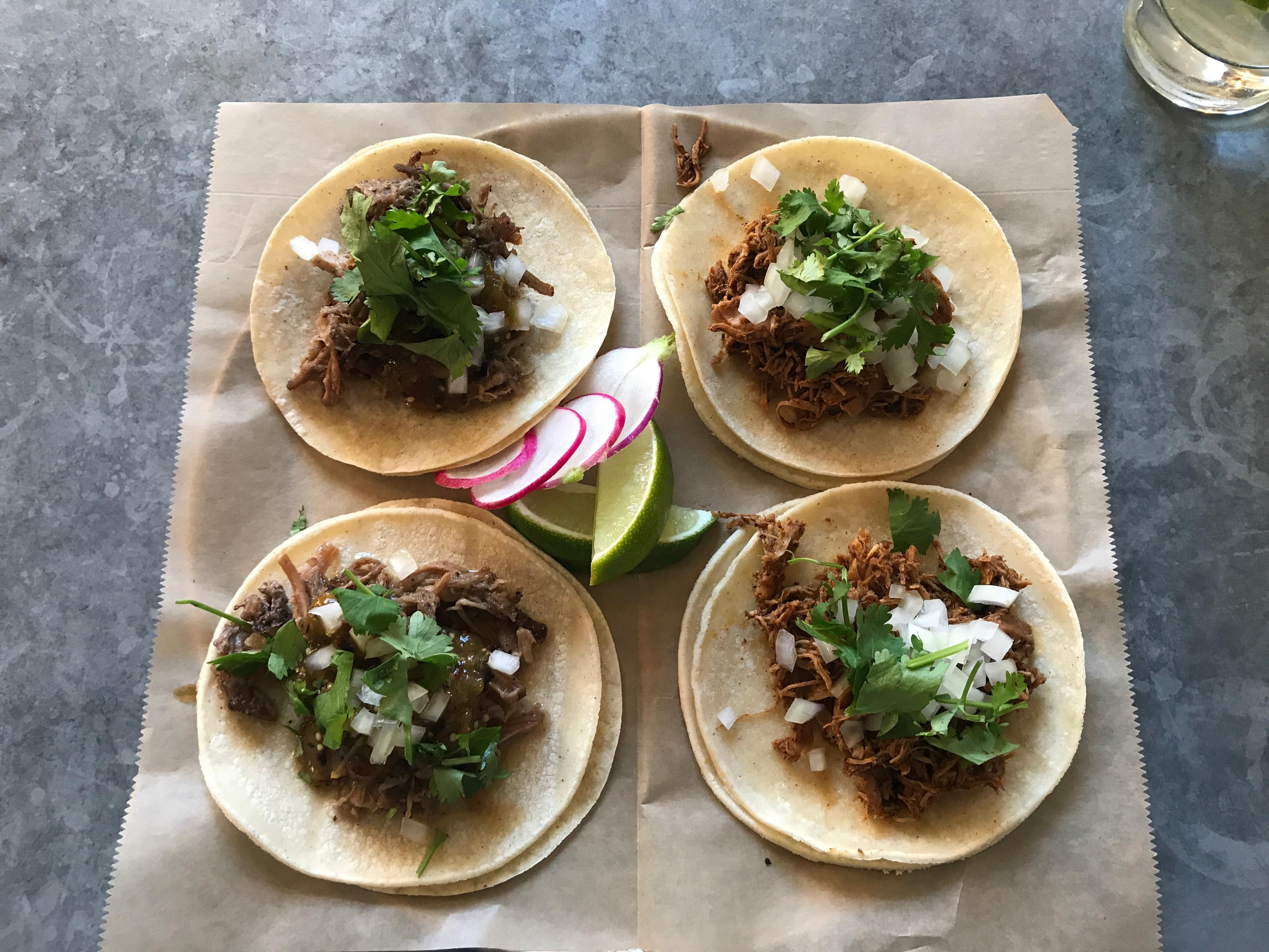 Tacos at Copal. Left are the barbacoa, right are the tinga. (Image: Frank Guanco)