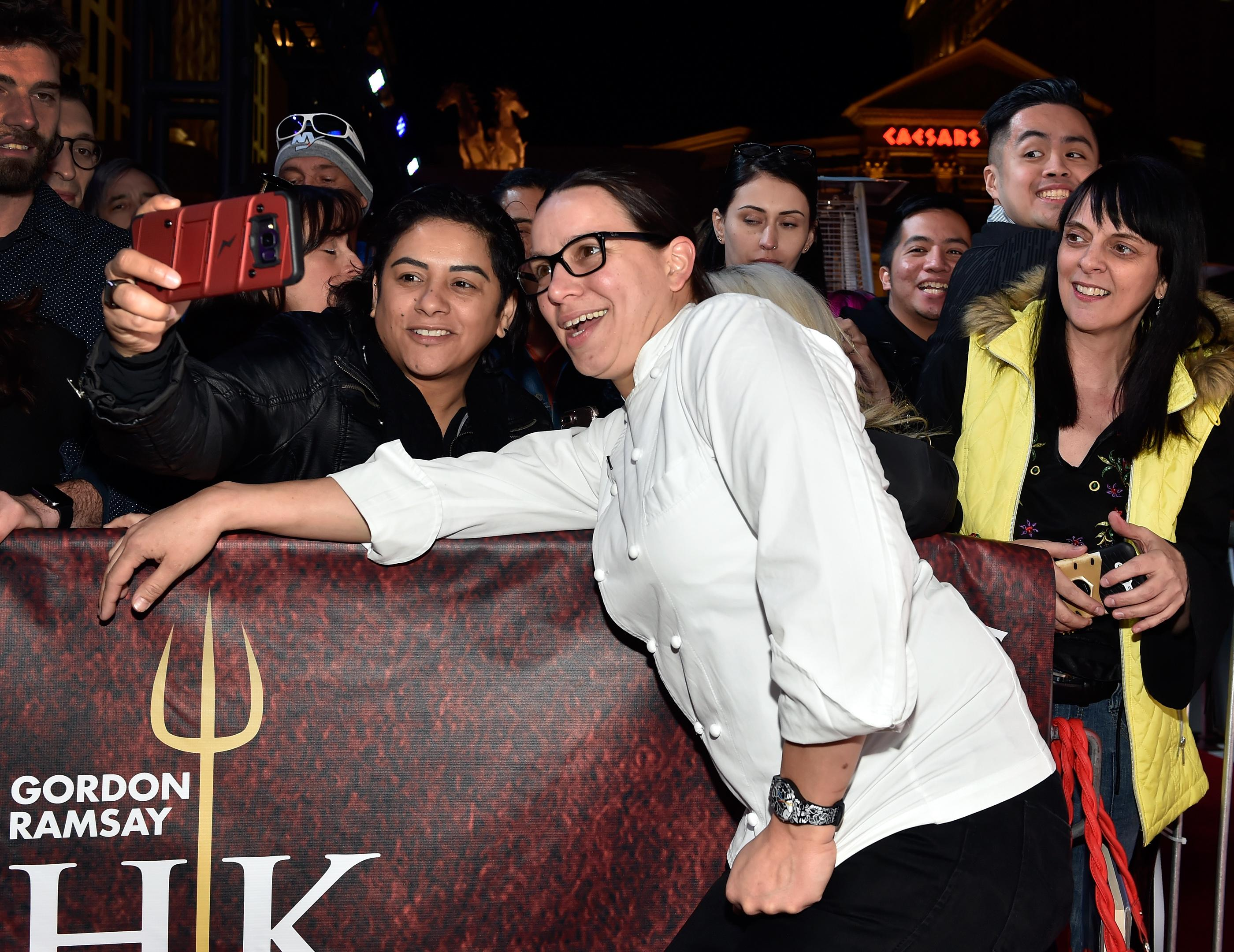 Hell's Kitchen season 10 winner Christina Wilson poses with fans during the grand opening of Gordon Ramsay Hell's Kitchen at Caesars Palace Friday, Jan. 26, 2018, in Las Vegas. CREDIT: David Becker/Las Vegas News Bureau