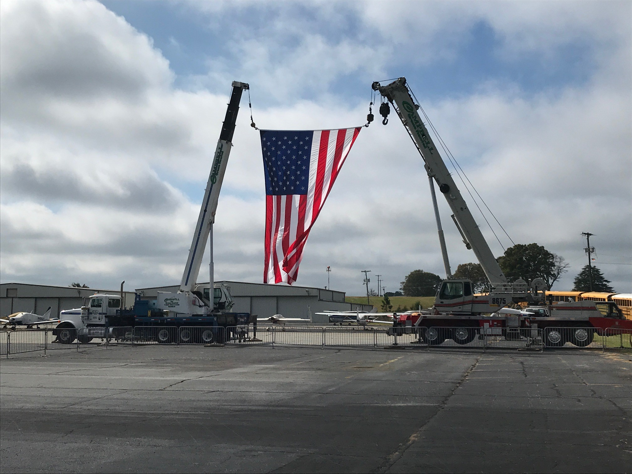 "Setup is underway for Vice President Mike Pence's ""Make America Great Again! Victory Rally"" in Greenville, South Carolina, set to take place after 3 p.m. on Oct. 27. (Photo credit: WLOS Staff)"