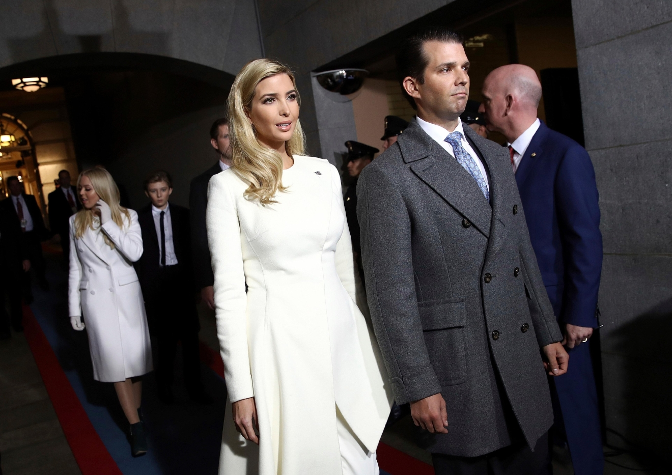 Ivanka Trump and Donald Trump, Jr. arrive on the West Front of the U.S. Capitol on Friday, Jan. 20, 2017, in Washington, for the inauguration ceremony of Donald J. Trump as the 45th president of the United States. (Win McNamee/Pool Photo via AP)