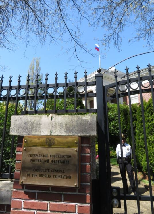 U.S. State Department officials forced their way into the former Russian consulate residence in Seattle on Wednesday, a day after Russian diplomatic personnel vacated the facility. (Photo: KOMO News)<p></p>