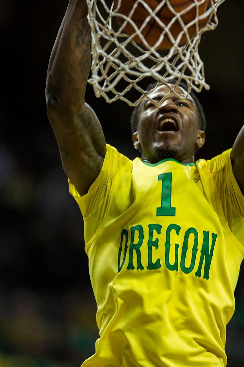 Oregon's Jordan Bell (#1) throws down a dunk late in the second half. Paced by 25 points from sophomore Dillon Brooks, Oregon defeated UCLA 86-72 in front of a crowd of 10,525 at Matthew Knight Arena on Saturday afternoon in Eugene, Oregon. With the win, the Ducks move to 16-4 on the season and 5-2 in PAC-12 play. Eric Cech, Oregon News Lab