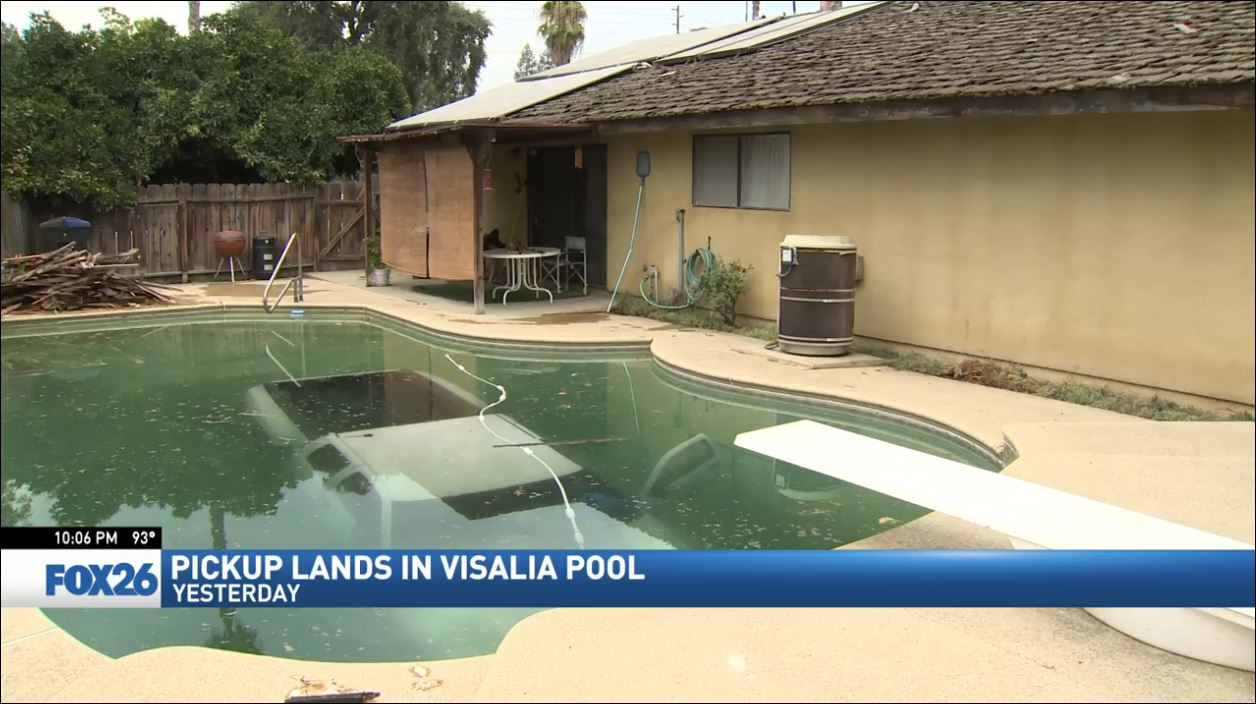Visalia homeowner stuck with bill after truck lands in pool