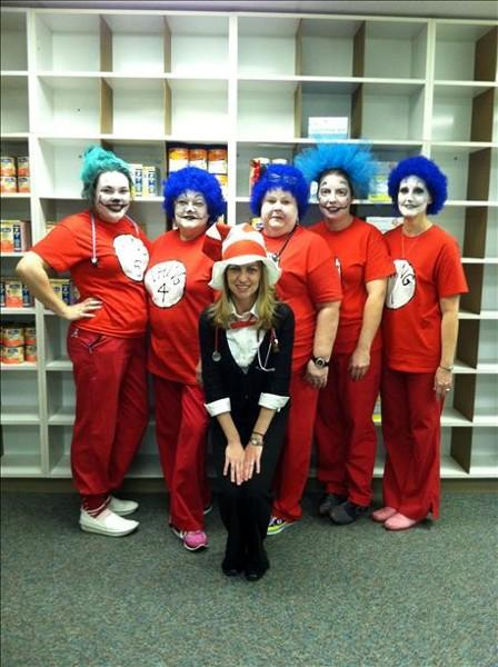 "Happy Halloween from Gadsden pediatric clinic and Rainbow Pediatrics in Gadsden, al We are ""Things"" from Dr. Seuss"