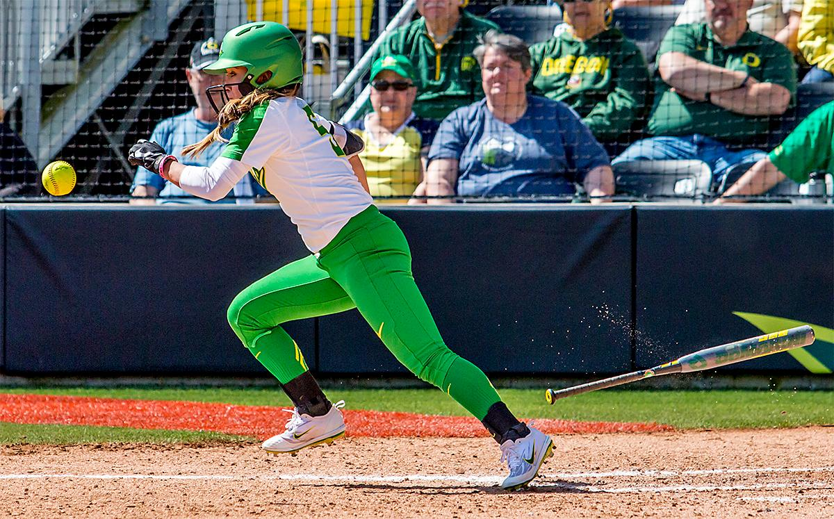 The Duck's Sammie Puentes (#5) takes off running for first base after hitting the ball. The Oregon Ducks Softball team took their third win over the Arizona Sun Devils, 1-0, in the final game of the weekends series that saw the game go into an eighth inning before the Duck?s Mia Camuso (#7) scored a hit allowing teammate Haley Cruse (#26) to run into home plate for a point. The Ducks are now 33-0 this season and will next play a double header against Portland State on Tuesday, April 4 at Jane Sanders Stadium. Photo by August Frank, Oregon News Lab