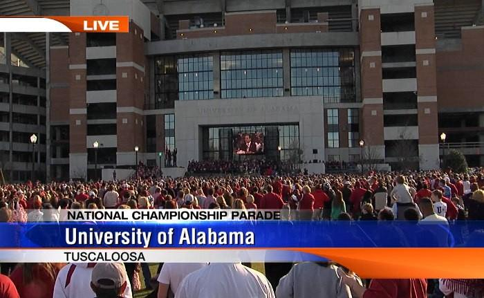 Thousands of fans stood outside the North endzone of Bryant-Denny Stadium for the BCS National Championship celebration on Saturday, January 19, 2013.