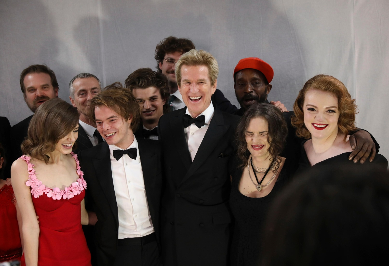 "Natalia Dyer, from left, Charlie Heaton, Joe Keery, Matthew Modine, Rob Morgan, Winona Ryder, and Shannon Purser appear backstage after accepting the award for outstanding performance by an ensemble in a drama series for ""Stranger Things"" at the 23rd annual Screen Actors Guild Awards at the Shrine Auditorium & Expo Hall on Sunday, Jan. 29, 2017, in Los Angeles. (Photo by Matt Sayles/Invision/AP)"