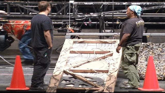 "Crews spent Tuesday unloading set pieces from ""Wicked"" at the Civic Center Music Hall."