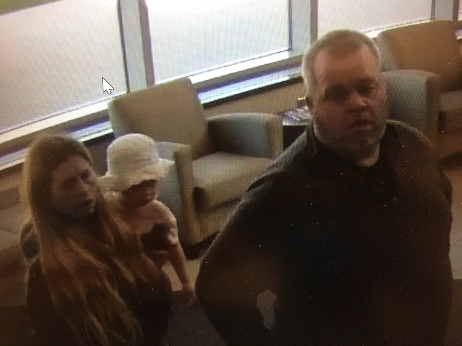 <p>Security photo of Dakota, William and Jessica Ray taken from a hospital in Le Mars on Monday, May 14. (photo courtesy NCMEC)</p>