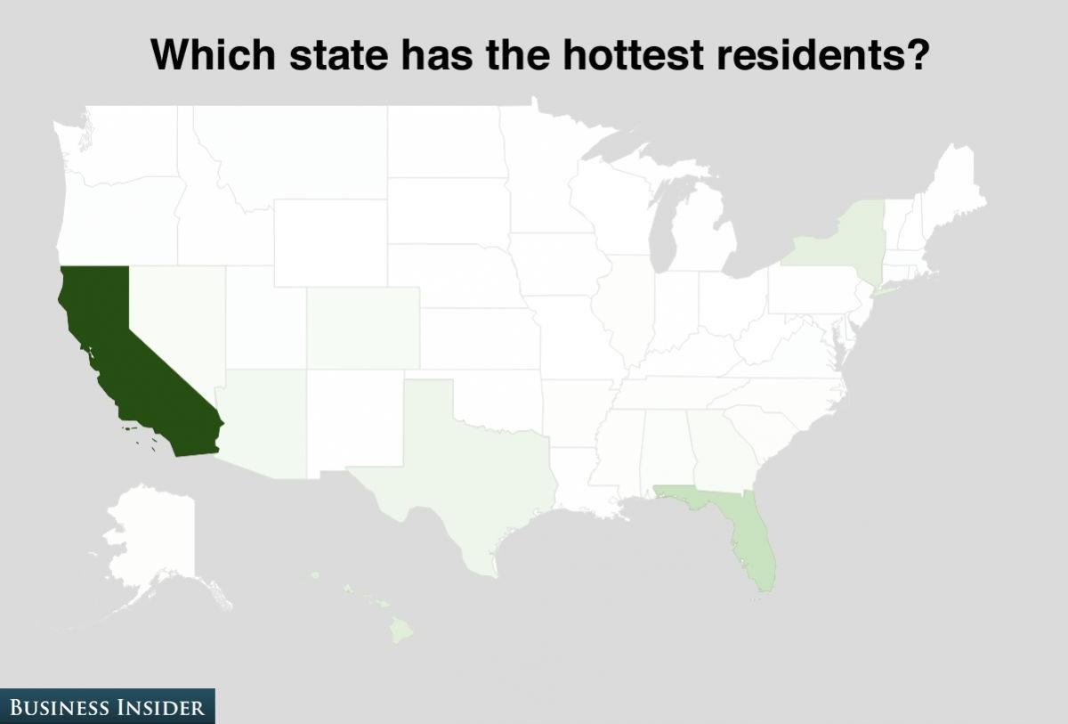 California grabbed 51% of the hottest residents vote.