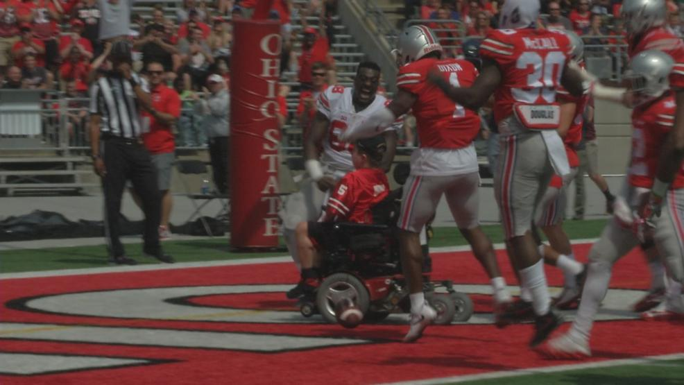 Jacob Jarvis, 17,  a member of the Ohio State University football program for the past four years, scores a touchdown for the final play of the Spring Game. (WSYX/WTTE)