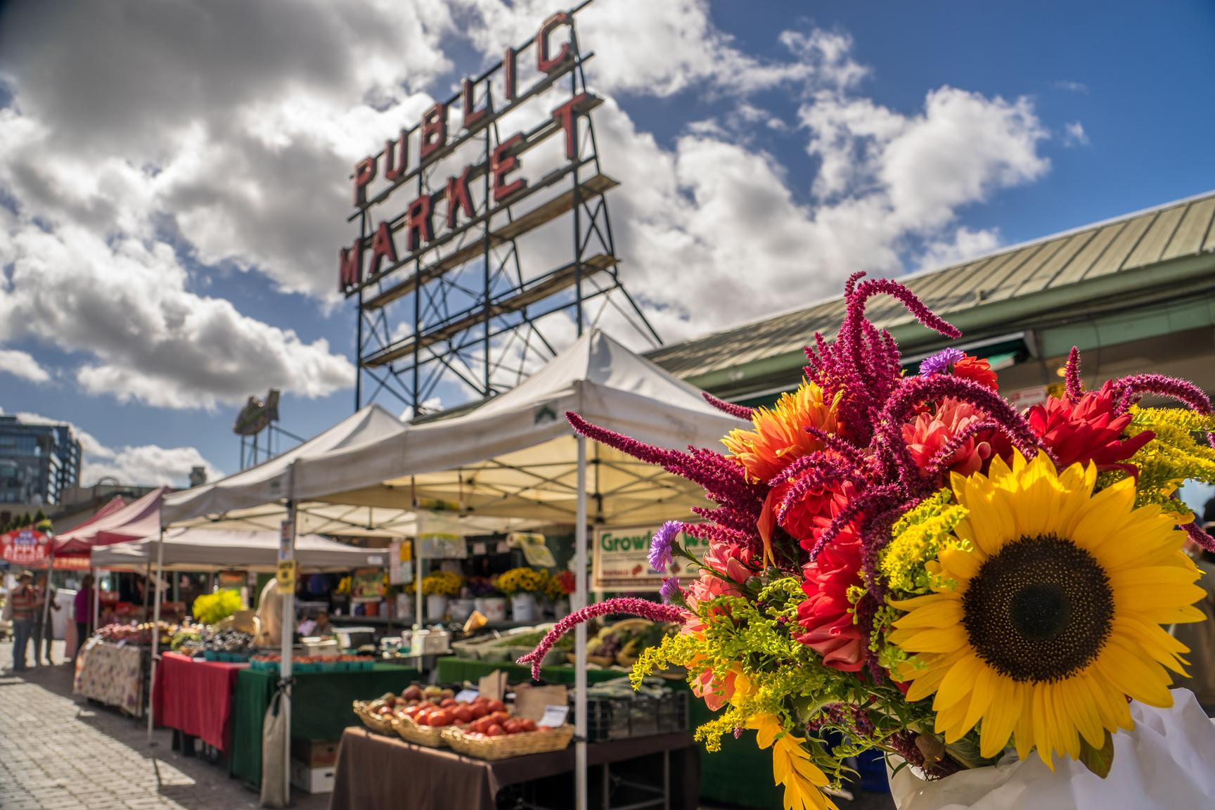 The Pike Place Market, one of the oldest farmers markets in the U.S. (Photo courtesy of Visit Seattle/Alabastro Photography)