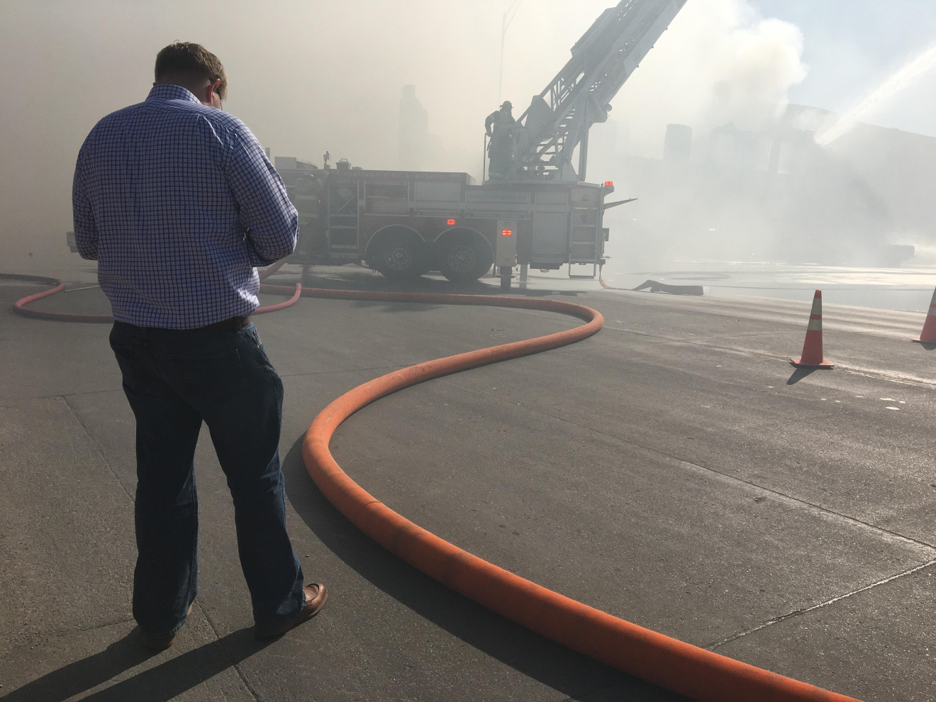Hastings City Mayor Corey Stutte at the scene of the fire at BG & S Transmission. (NTV News)