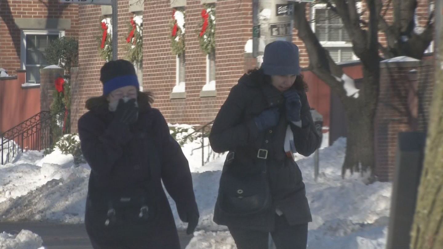 People bundle up to prevent frostbite