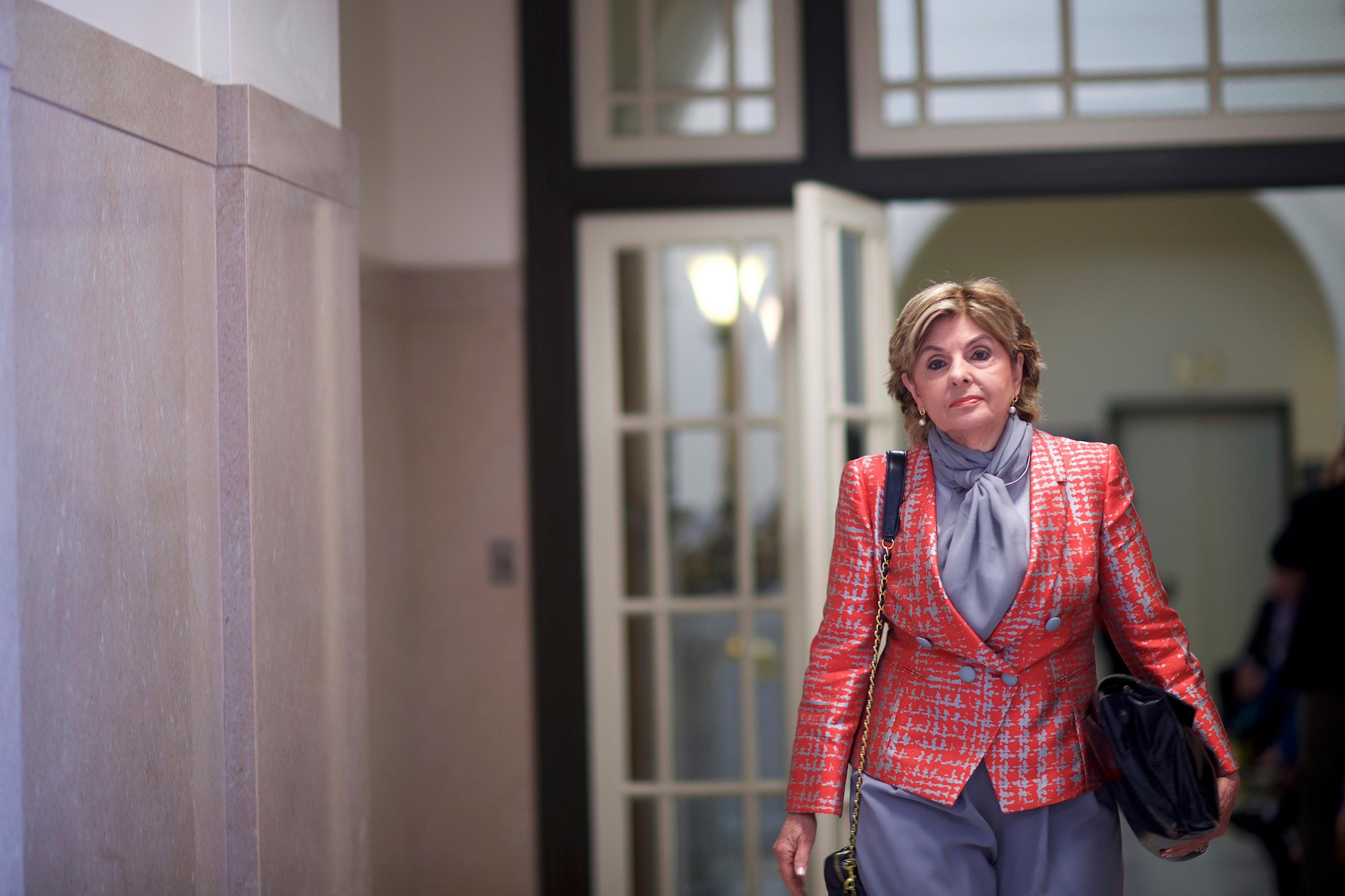 Attorney Gloria Allred arrives for jury deliberations in Bill Cosy's sexual assault trial at the Montgomery County Courthouse in Norristown, Pa., Wednesday, June 14, 2017. (Mark Makela/Pool Photo via AP)
