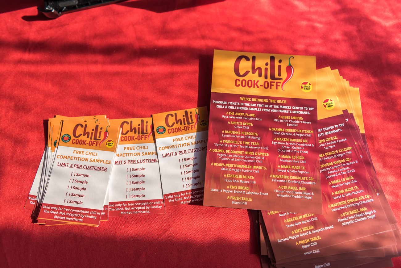 The 15th annual Chili Cook-Off was held on Sunday, January 27th at Findlay Market. Firefighters from Engine Co. 5 along with reps from Gold Star and MadTree Brewing judged each recipe and awarded the top three chilis. Vonnya Thomas won 1st place and was named 2019's Chili Meister. Alan Hixenbaugh took 2nd place and Alicia Garr took 3rd. The Chili Cook-Off was sponsored by Gold Star Chili. Beer was provided by MadTree Brewing. / Image: Mike Menke // Published: 1.28.19