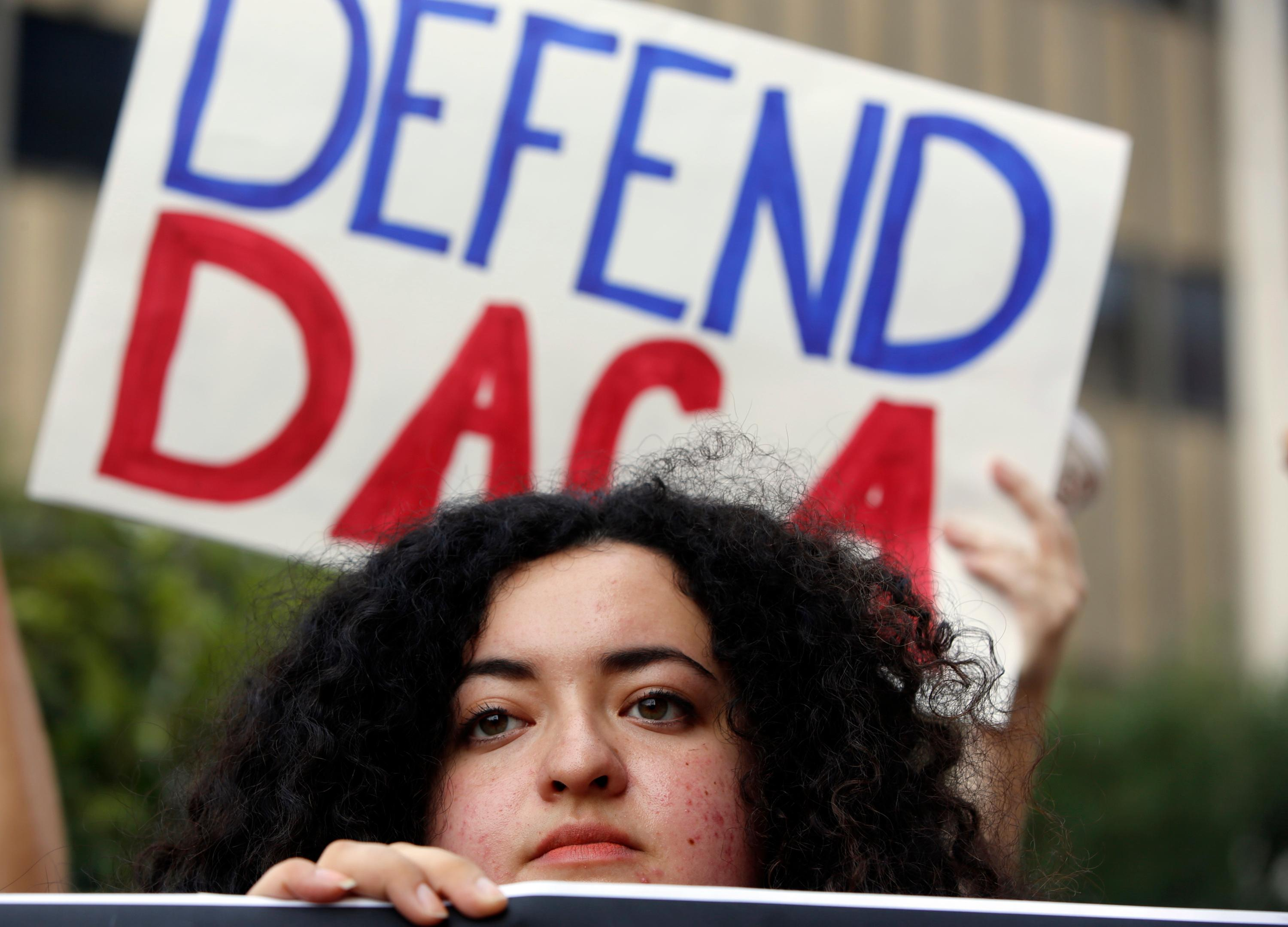 FILE - In this Sept. 1, 2017 file photo, Loyola Marymount University student and dreamer Maria Carolina Gomez joins a rally in support of the Deferred Action for Childhood Arrivals, or DACA program, outside the Edward Roybal Federal Building in Los Angeles.{&amp;nbsp;} (AP Photo/Damian Dovarganes, File)<p></p>