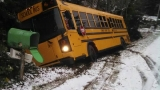 Camano Island school bus slides into ditch