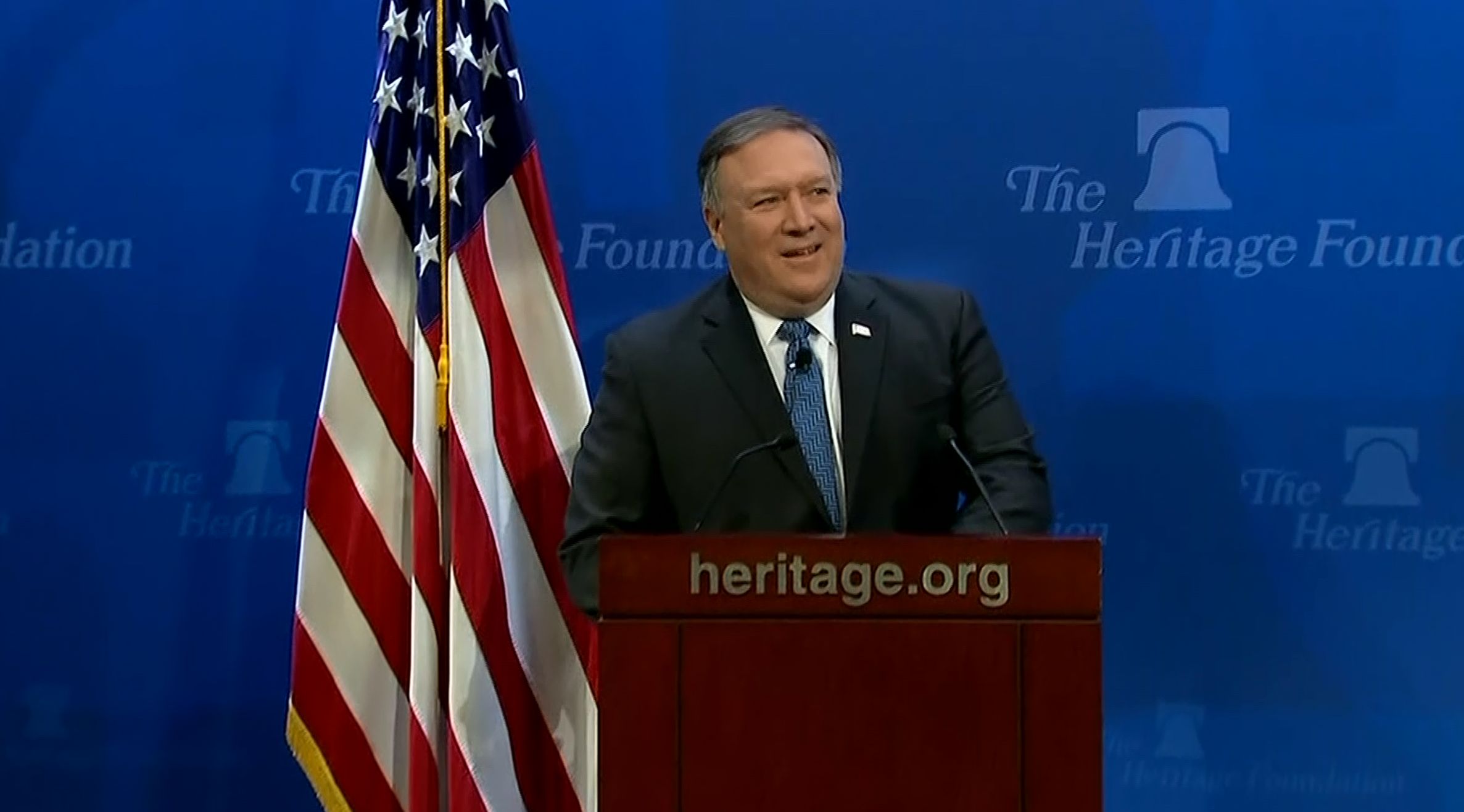 Secretary of State Mike Pompeo delivers a speech on Iran at the Heritage Foundation on May 21, 2018. (CNN Newsource)