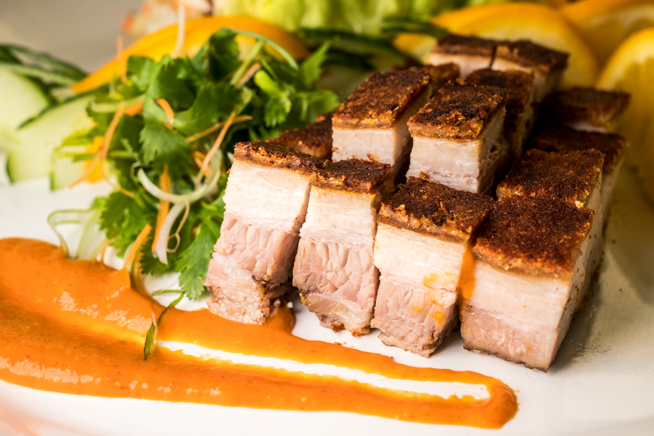 Crispy pork belly from the Four Seasons Platter / Image: Catherine Viox // Published: 1.15.20
