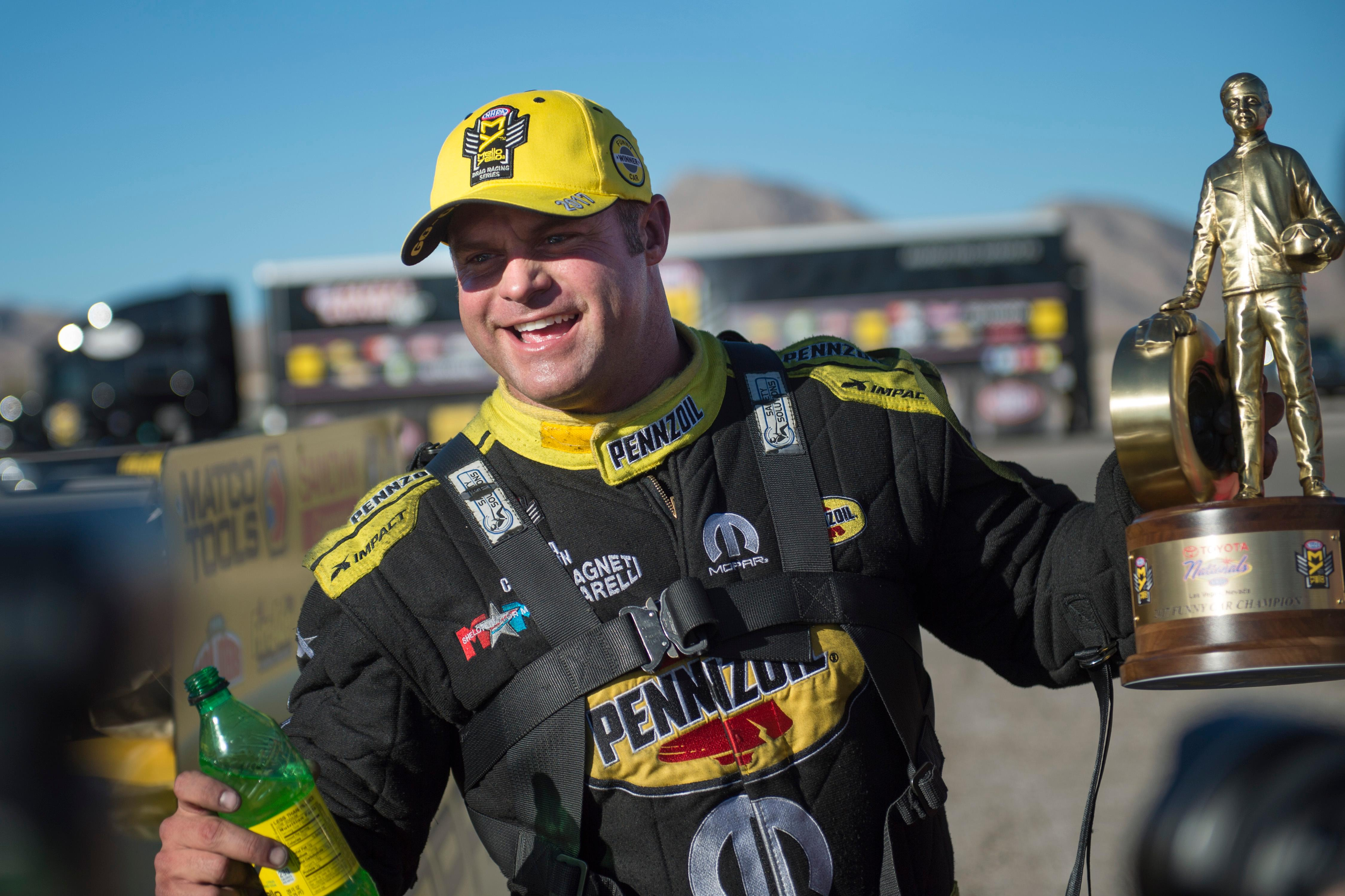 Funny Car driver Matt Hagan celebrates his victory at the NHRA Toyota Nationals Sunday, October 29, 2017, at The Strip at the Las Vegas Motor Speedway. CREDIT: Sam Morris/Las Vegas News Bureau