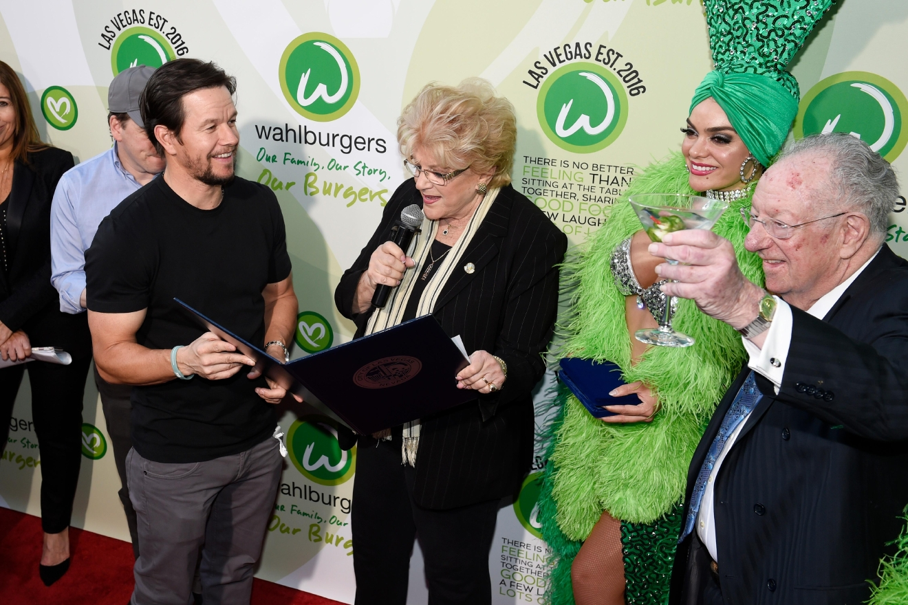 "Las Vegas Mayor Carolyn Goodman reads a proclamation calling March 28th as ""Wahlburgers Day"" as Mark Wahlberg holds it during a VIP event at Wahlburgers Las Vegas in the Grand Bazaar Shops at Bally's Tuesday, March 28, 2017. [Sam Morris/Las Vegas News Bureau]"