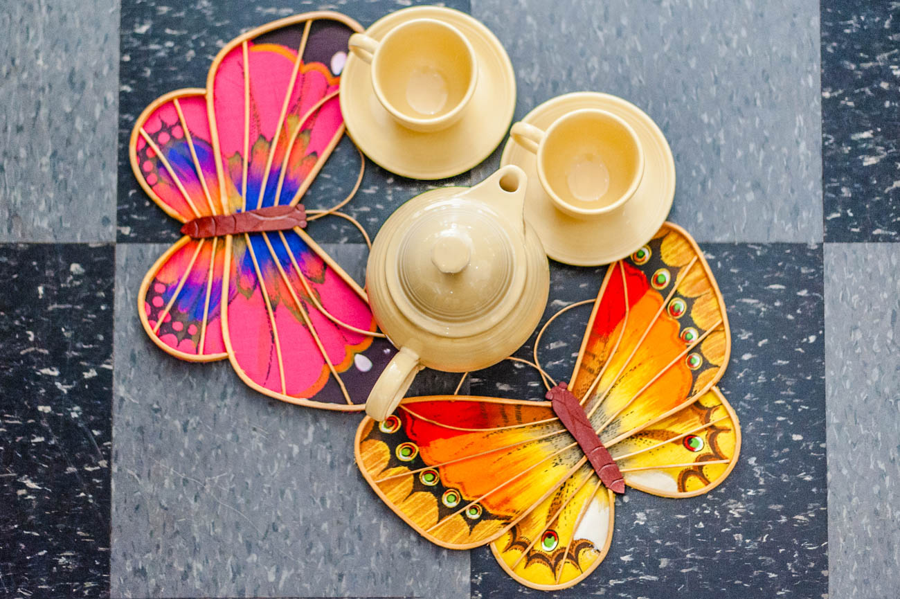 Hand-painted butterflies with tea set / Image: Kellie Coleman // Published: 1.16.20
