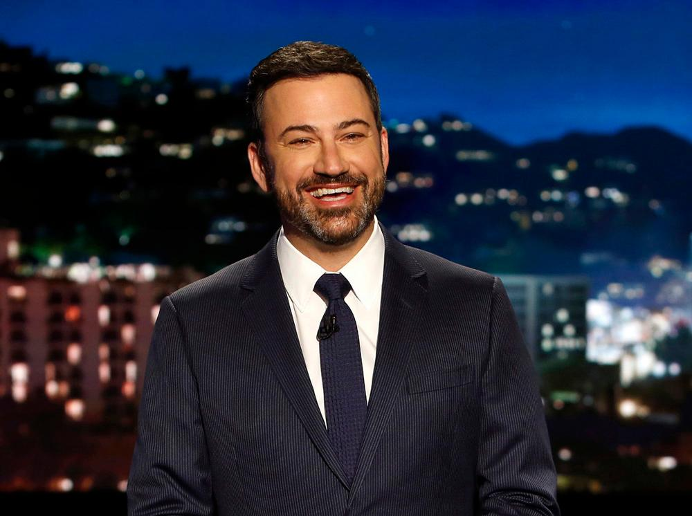 "FILE - In this April 11, 2017 file photo, host Jimmy Kimmel appears during a taping of ""Jimmy Kimmel Live,"" in Los Angeles. (Randy Holmes/ABC via AP, File)"