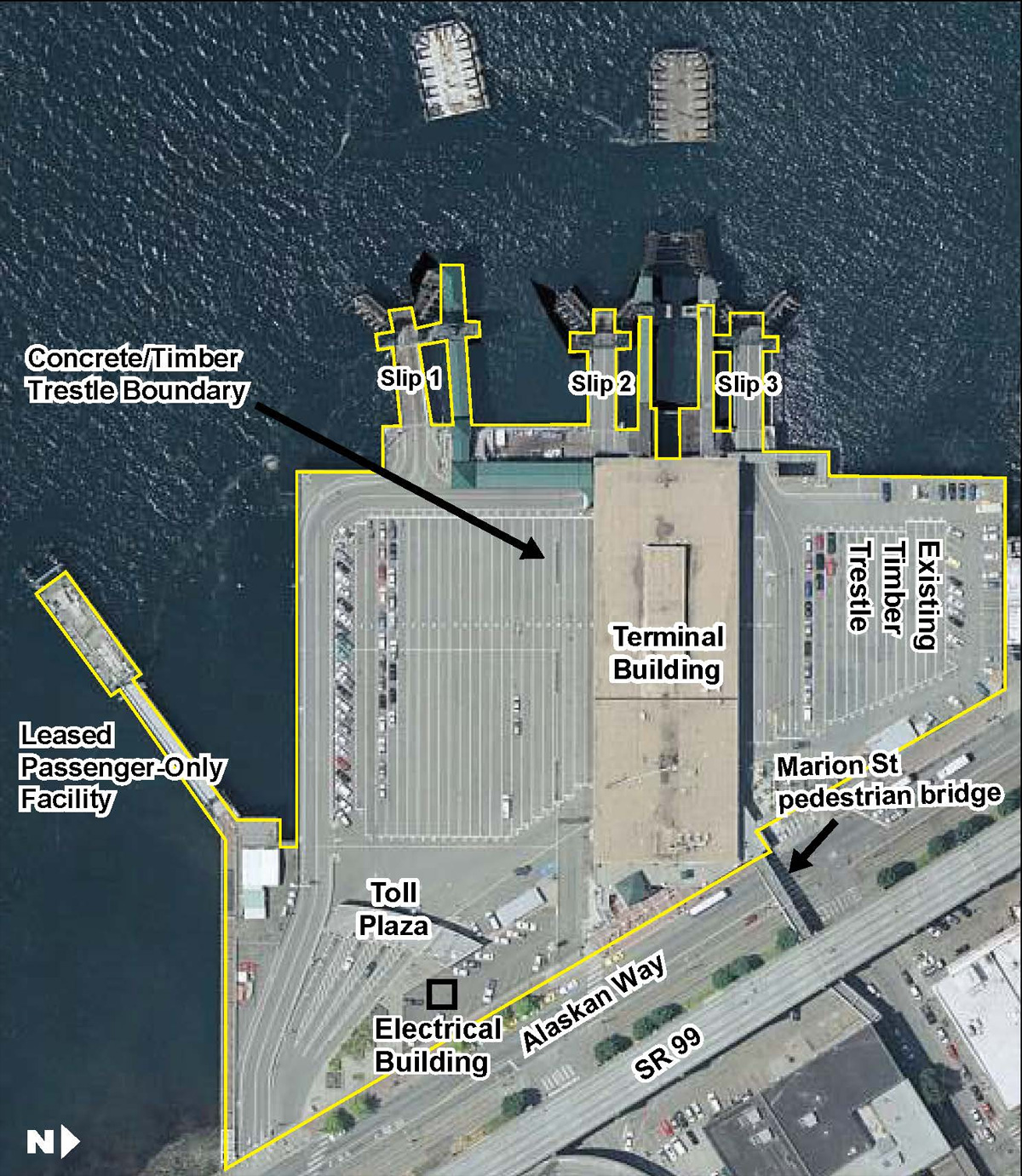 Wash. State Ferries photo shows the existing Colman Dock ferry terminal.