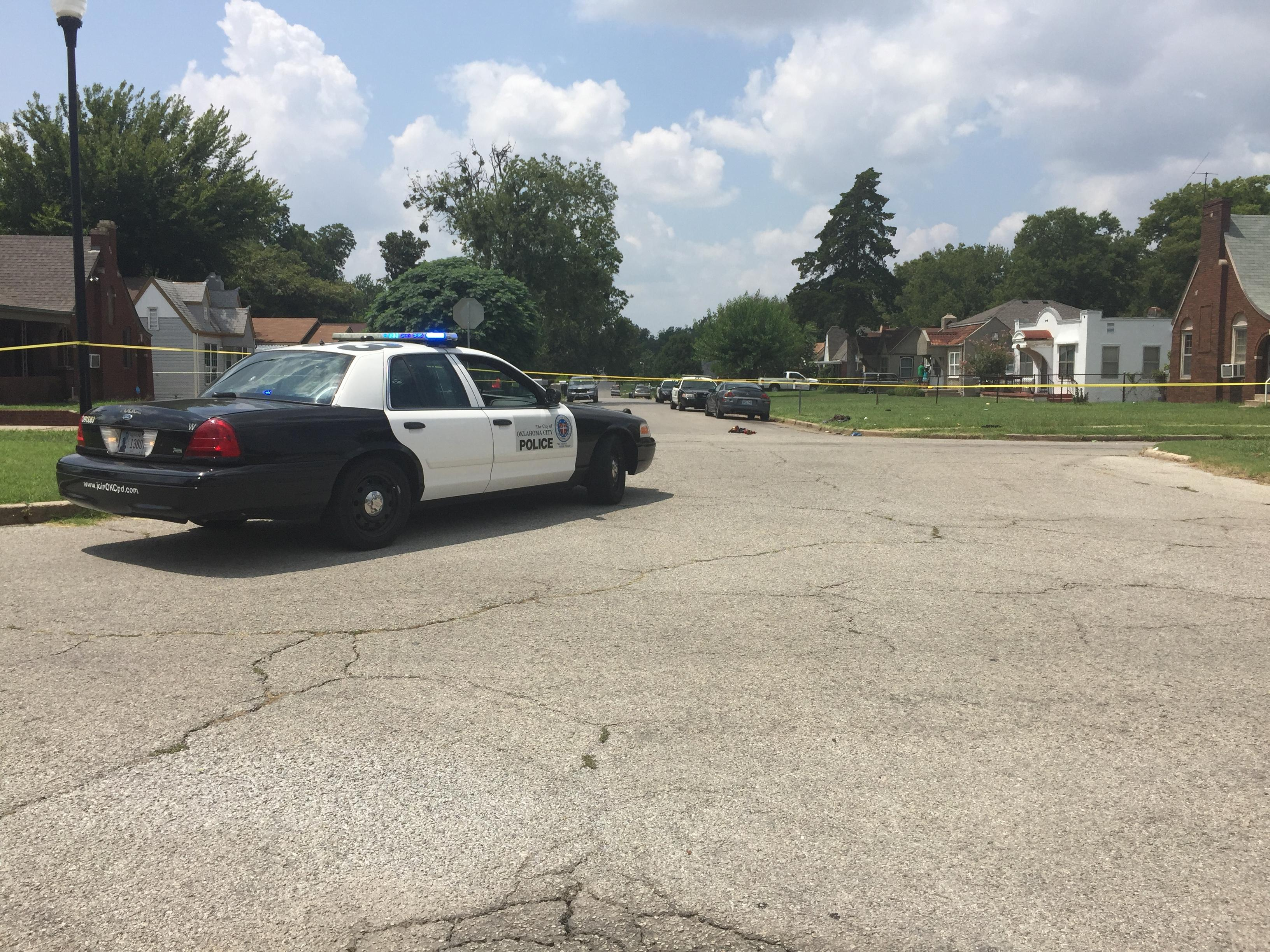 Police investigate a shooting August 9 near NW 12 and Youngs. (KOKH/Anthony West)